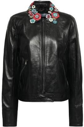 RED Valentino Floral-Appliquéd Leather Jacket