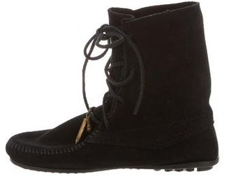 Minnetonka Suede Lace-Up Booties $65 thestylecure.com