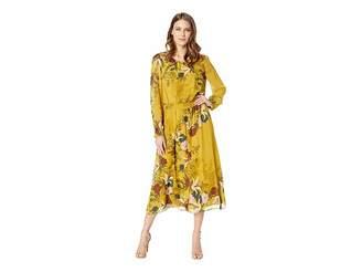 Vince Camuto Long Sleeve Autumn Botanical Cinch Waist Dress