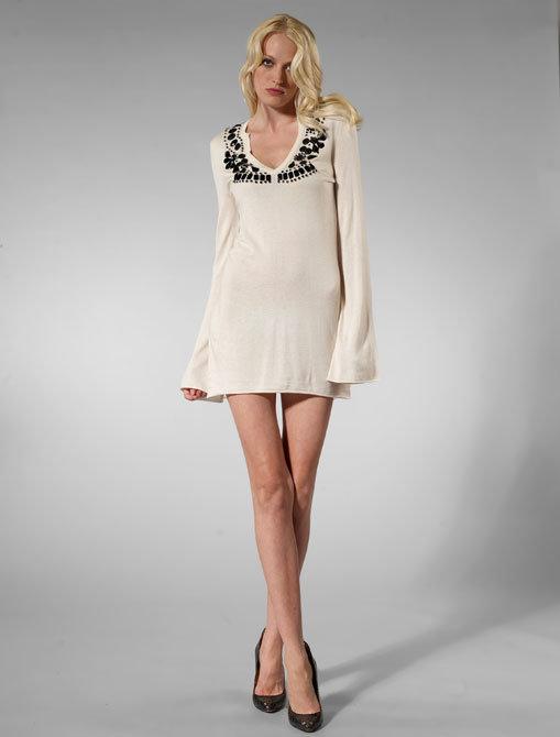 Dream Society Zahara Stone Embellishment Dress in Ivory