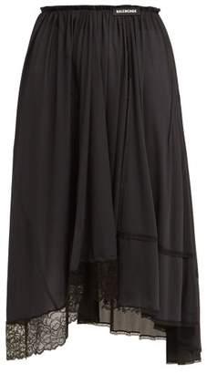 Balenciaga Asymmetric Lace Trimmed Jersey Midi Skirt - Womens - Black