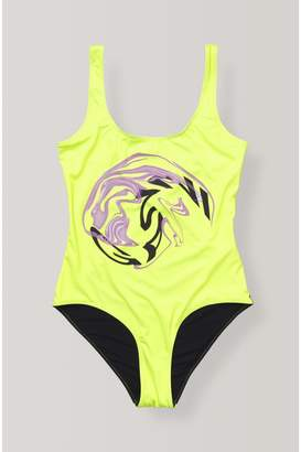 Ganni Placement Print Swimwear Swimsuit, Swirl