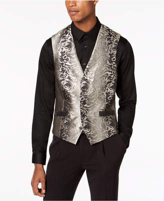 INC International Concepts I.n.c. Men's Slim-Fit Gold Jacquard Suit Vest, Created for Macy's