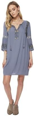 Lucky Brand Embroidered Bell Sleeve Dress Women's Dress