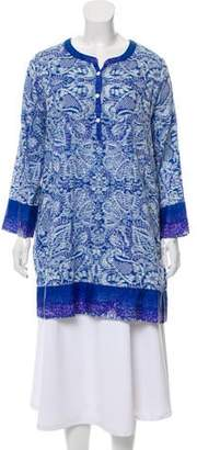 Oscar de la Renta Printed Long Sleeve Nightgown