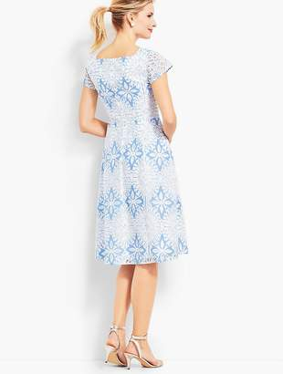 Talbots Flower Lace Jacquard Fit & Flare Dress