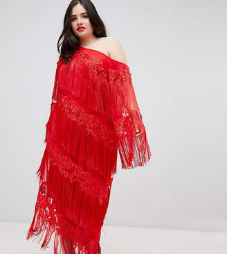 Asos EDITION Curve embroidered one shoulder fringe midi dress