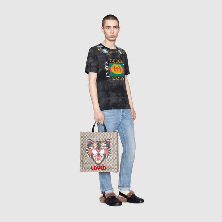 Cotton tie-dye t-shirt with Gucci logo 9
