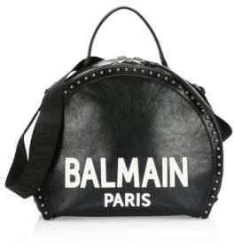 Balmain Leather Logo Drum Shoulder Bag