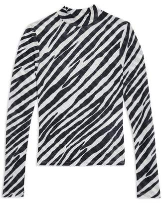 Topshop Zebra Print Mock Neck Top