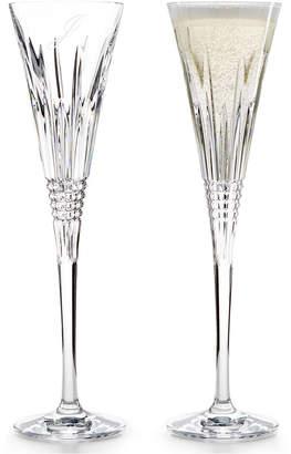 Waterford Stemware, Lismore Diamond Script Letter Monogram Toasting Flutes, Set Of 2