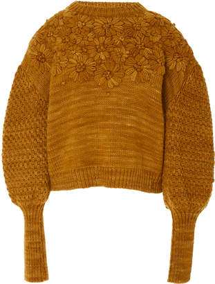 Ulla Johnson Ciel Embroidered Merino Wool Knit Sweater Size: P