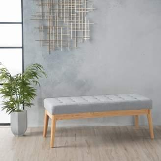 Noble House Truxton Light Grey Fabric Bench
