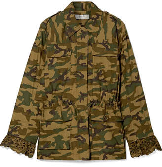 Sea Carina Broderie Anglaise And Printed Cotton-gabardine Jacket - Green