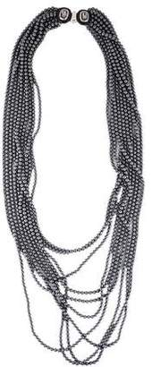 Oscar de la Renta Black Faux Pearl & Crystal Multistrand Necklace
