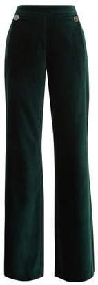 Temperley London Clove Flared Cotton Blend Velvet Trousers - Womens - Dark Green
