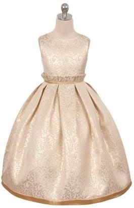 Kids Dream Gianna- Elegant Jacquard Full Dress Gold