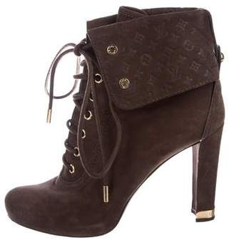 Louis Vuitton Suede Lace-Up Booties