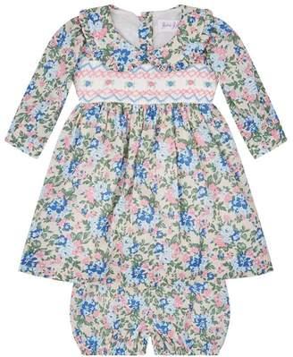 Rachel Riley Floral Print Smocked Dress