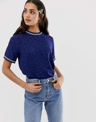 Only Tina spotty t-shirt with sporty stripe trims