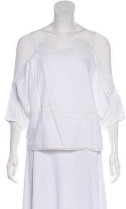 Vilshenko Crochet-Trimmed Cold-Shoulder Top