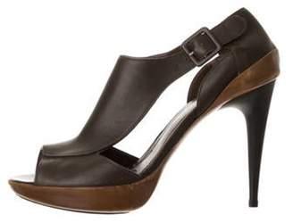 Marni Leather Peep-Toe Sandals Olive Leather Peep-Toe Sandals