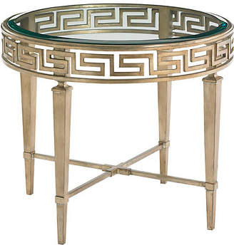 One Kings Lane Aston Greek Key Round Side Table - Gold