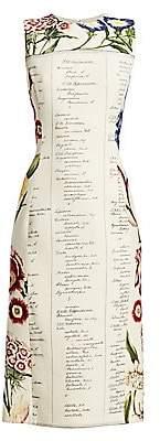 Oscar de la Renta Women's Sleeveless Floral Script Sheath Dress