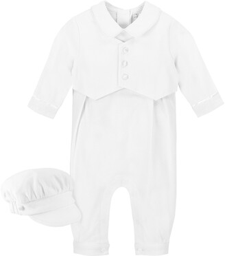 Carriage Boutique Elegant Christening Romper & Newsboy Cap Set