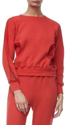 Good American Good Sweats Mesh Inset Sweatshirt (Regular & Plus Size)