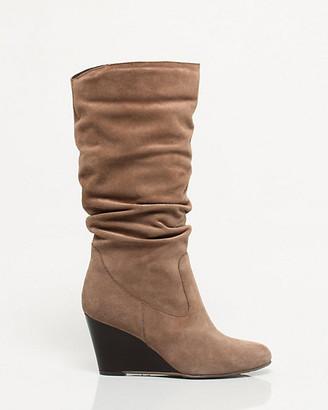 Le Château Italian Design Suede Mid Calf Wedge Boot