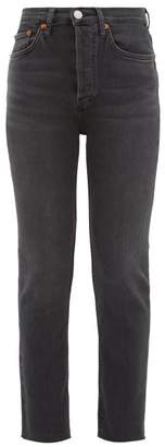 RE/DONE High Rise Cropped Skinny Jeans - Womens - Dark Grey