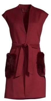 Elie Tahari Deanna Double Face Rex Rabbit Fur& Wool Vest