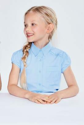 Next Girls Blue Puff Sleeve Blouse (3-16yrs)