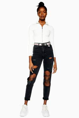 Topshop Womens Washed Black Nibble Rip Mom Jeans - Washed Black