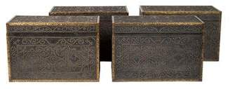 Ralph Lauren Set of 4 Brass-Mounted Colonial Revival Trunks