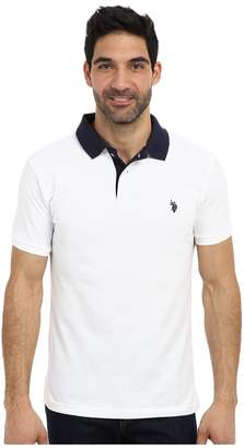 U.S. Polo Assn. Slim Fit Solid Pique Polo w/ Contrast Color Striped Under Collar Men's Short Sleeve Pullover
