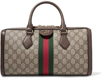 Gucci Ophidia Textured Leather-trimmed Printed Coated-canvas Tote