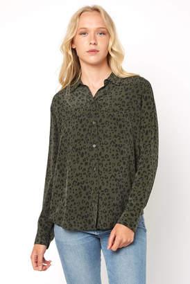 Rails Kate Olive Cheetah Print Button Down Shirt