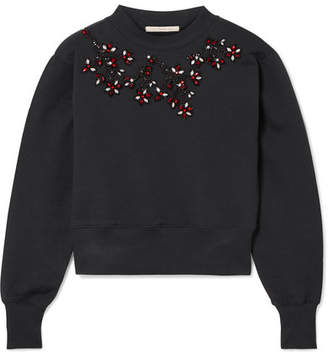 Christopher Kane Cropped Embellished Cotton-jersey Sweatshirt - Black