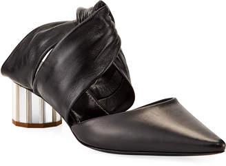 Proenza Schouler Silver Metal Heel Leather Mules