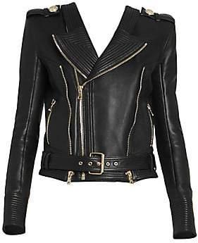 Balmain Women's Leather Moto Jacket