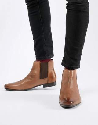 Frank Wright Chelsea Boots In Tan Leather