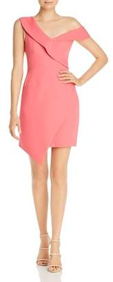 BCBGMAXAZRIA Asymmetric Off-The-Shoulder Satin Dress