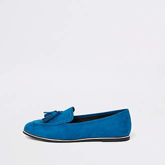 River Island Womens Blue gold tone trim tassel loafers