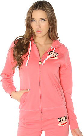 Paul Frank The Color Block Julius Zip-Front Hoodie in Coral