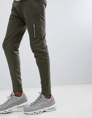 Asos Design DESIGN Skinny Joggers With MA1 Pocket In Khaki
