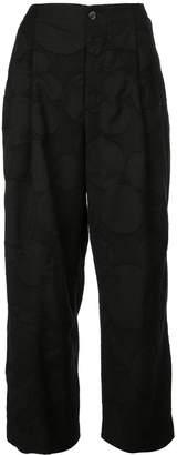 UMA WANG Circle patterned wide leg trousers