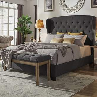 Canora Grey Lora Upholstered Standard Bed Canora Grey Size: Queen, Color: Dark Gray