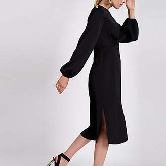 River Island Black long sleeve midi dress